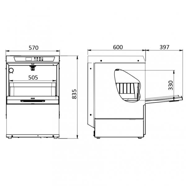 profesionalna masina za pranje tanjira dimenzije BE50VE