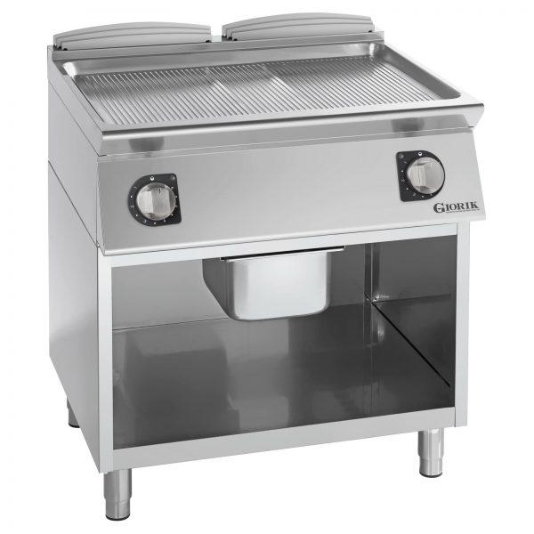 Profesionalni dupli električni roštilj rebrasta hromirana ploča - serija 900